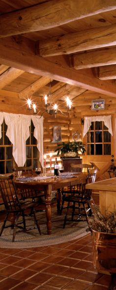 More of a rental cabin in the woods than a country home, but I just love the log home and the lighting!