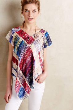 Painted Plaid Silk V-Neck - #anthroregistry