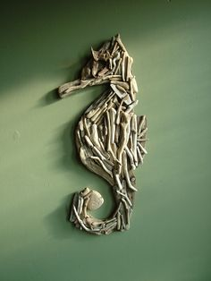 Natural Driftwood Seahorse  Large  Wall Decor by TidalCreations