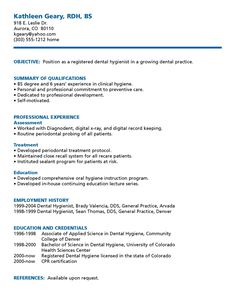 Dental Hygiene Resume Template Dental Hygienist Resume  Resume Samples  Pinterest  Dental