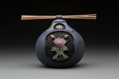 "Lotus w/ Tiger Eye by Bill Colligen Lagenaria siceraria ~ 4.75"" x 4.50"""
