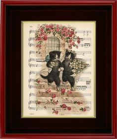 Mr and Mrs Cat's Wedding  Art Print on 1920's Music by PagesOfAges, $7.00