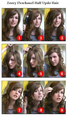 Zooey Deschanel Half Updo Hairstyle | hairstyles tutorial