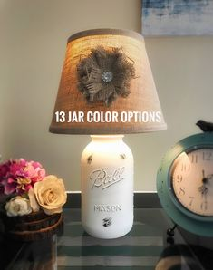 Half Gallon Mason Jar Lamp, Mason Jar Light, Custom Lamp, Hand Painted Lamp, Farmhouse Lamp, Rustic Lamp, White, Shabby Chic Lamp, Country by MintedCountryShop on Etsy https://www.etsy.com/listing/515915740/half-gallon-mason-jar-lamp-mason-jar