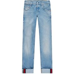 Gucci Tapered Leg Jeans (18,445 MXN) ❤ liked on Polyvore featuring men's fashion, men's clothing, men's jeans, mens denim jeans, mens tapered leg jeans, gucci mens jeans and mens striped jeans