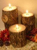 Rustic Log Candle - Mossy Oak Wood **FREE SHIPPING**