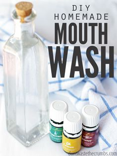 Improve your dental health dramatically with homemade versions! This homemade mouthwash is not only cheaper, but better for you than commercial mouthwash. Plus it's just 3 ingredients & water! :: DontWastetheCrumbs.com