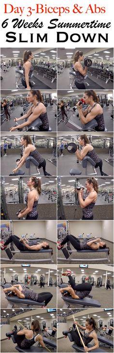 6 Weeks Summertime Slim Down: Day 4-Biceps & Abs.