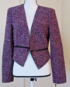 Calvin Klein Black Purple Tweed  Adjustabl Crop Blazer Zipper Deco lined Size 8  | Clothing, Shoes & Accessories, Women's Clothing, Tops & Blouses | eBay!