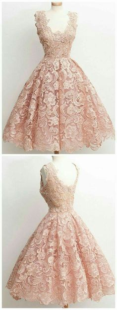50's style champagne lace dress. So classy!
