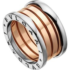 BVLGARI B.zero1 18ct pink and white-gold ring ($2,205) ❤ liked on Polyvore featuring jewelry, rings, bulgari, bulgari ring, yellow gold jewelry, polish jewelry and engraved rings