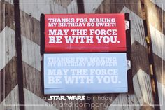 Seriously the cutest Star Wars themed birthday #party. Love these candy bar wrapper favors.
