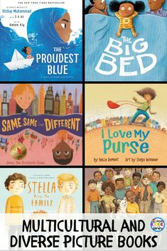 """Book list of children's books with multicultural and diverse characters. Children need to not only learn about new cultures, places, and traditions but they also need to be able to """"see"""" themselves in a book. Class Library, Elementary Library, Library Books, Children's Books, Elementary Schools, Library Center, Kid Books, Library Lessons, High Schools"""