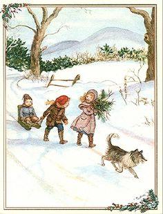 Tasha Tudor - walk in snow