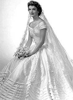 Jacqueline's formal wedding  portrait;  she preferred a simpler dress.