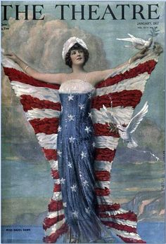 "Columbia wearing a warship bearing the words ""World Power"" as her ""Easter bonnet"" (cover of ""Puck"", April 6, 1901). ... Columbia is a historical and poetic name used for the United States of America and is also the name of its female personification."