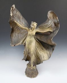An Art Nouveau Goldscheider terracotta figural lamp, cast from a model by E. Tell, modelled as Loie Fuller dancing with billowing, diaphanous costume, incised signature, moulded factory mark and stamped numerals approx. 62 cm high A/F