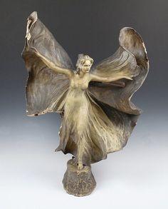 Lovely Art Nouveau Goldscheider terracotta figural.