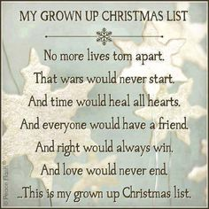 A grown up Christmas list.....one of my favorite Christmas songs sung by Amy Grant!