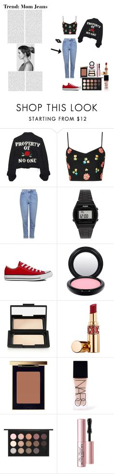"""""""Trend: Mom Jeans"""" by silly-stegosaurus ❤ liked on Polyvore featuring High Heels Suicide, Topshop, Casio, Converse, MAC Cosmetics, NARS Cosmetics, Yves Saint Laurent and Too Faced Cosmetics"""