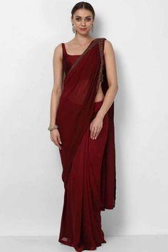 Rosewood Color Silk Saree With Silk Blouse - Dress Indian Style, Indian Dresses, Indian Outfits, Eid Dresses, Sari Design, Bridesmaid Saree, Sari Dress, Simple Sarees, Vestidos
