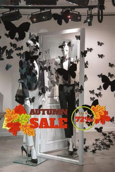 cik855 Full Color Wall decal Autumn sale sign discount best price leaves storefront window