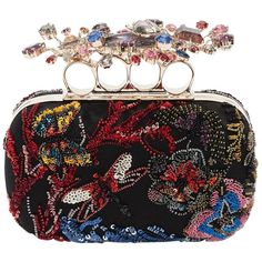 ALEXANDER MCQUEEN, Embroidered jeweled knuckle box clutch, Multicolor, Luisaviaroma - Height: Width: Depth: Metal frame with clasp closure. Knuckle ring handle with Pegasus, moon and star appliqués . Embellished with sequins and beads. Silk lining Alexander Mcqueen Handbags, Beaded Clutch, Floral Clutches, Sequin Clutches, Swarovski, Hand Bags, Evening Clutches, Evening Bags, Shabby Chic
