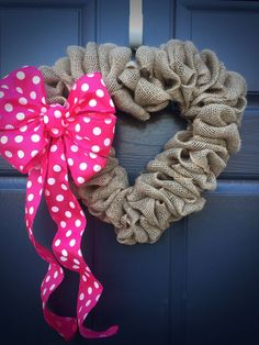 Heart Wreath, Polka Dots, Valentines Day, Love Gift, Pink Polka Dots, Burlap Heart Wreath, Heart Decor, Heart Door Wreath, Burlap Wreaths by WreathsByRebeccaB on Etsy