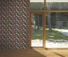 Marimekko Marimekko  Oodi Wallpaper Cream/Poppy Orange/Foliage/Black - KIITOSlife - 2