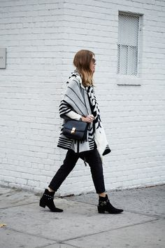 SAINT LAURENT BOOTIES / ZARA CAPE AND SCARF / CELINE BOX BAG