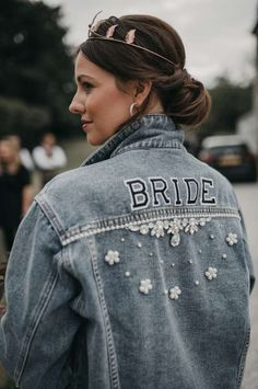 Bride denim jacket decorated with diamantes and pearls. Images by Jessica J Phot… Bride denim jacket decorated with diamantes and pearls. Images by Jessica J Photography Groom In Jeans, Bo And Luca, Wedding Accessories For Bride, Wedding Jacket, Groom Attire, Brides And Bridesmaids, Marie, Wedding Day, Wedding Bells