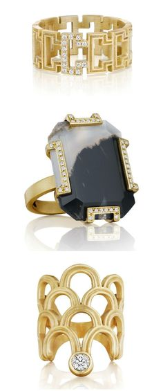 Three amazing rings from Doryn Wallach jewelry, one with onyx marble. All in yellow gold with diamond accents.