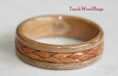 Braided Birch Bark inlay on Apple Wood Ring.