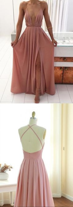 A line Sexy Open Back Prom Dress,Blush Pink Spaghetti Straps Evening Dress,Sexy Slit Prom Gown