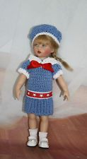 """Blue Sailor"" Crocheted Dress & Hat for Kish 8"" Riley doll and her friends"