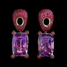 MOUSSON ATELIER NEW AGE COLLECTION - EARRINGS SABRE in yellow gold, amethyst, rubies (=)