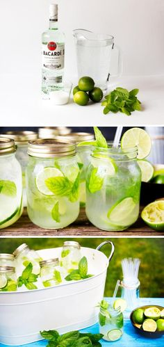 DIY pre-made mojitos in mason jars for a summer BBQ or party! Here's the recipe and the materials you need to get started. DIY pre-made mojitos in mason jars for a summer BBQ or party! Here's the recipe and the materials you need to get started. Snacks Für Party, Party Drinks, Fun Drinks, Drinks In Mason Jars, Mason Jar Party, Beverages, Summer Bbq, Summer Parties, Summer Drinks