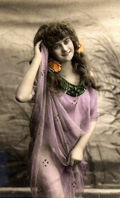 vintage hand colored photographs | Lovely draped lass | Vintage hand colored photos