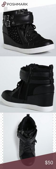 """Faux Leather & Suede Black Wedge Sneakers Sz 12W BRAND NEW W/OUT TAGS Torrid brand Faux Leather & Suede Black Studded Wedge Sneakers Sz 12W.  Got your sneakers on but they look like wedges! The street style gets a super-sleek upgrade thanks to a covered wedge, a black faux-leather ankle strap, and black faux leather trim. Side zip makes for an easy slip-on sneak.  TRUE WIDE WIDTH: Designed so you never have to size up again. For the perfect fit, we recommend going down a whole size.  3.25""""…"""