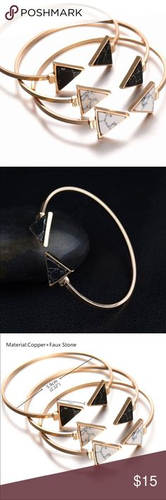 Fashion Gold Plate Black Triangle Bracelet Marble Fashion Gold Plate Black White Geometric Triangle Open Cuff Punk Bracelet Bangle Faux Marble Stone pulseras Jewelry Bracelets
