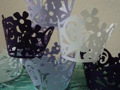 Set of (6) Flower and Butterfly Laced Cupcake Wrappers