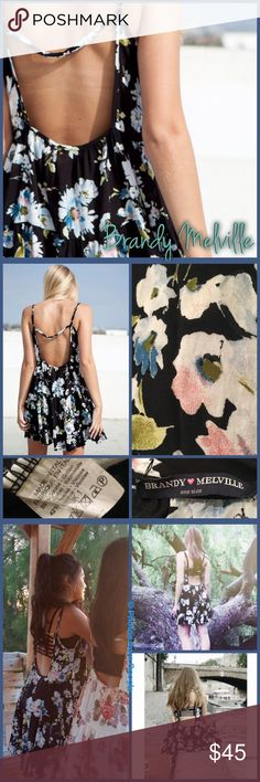 """Brandy Melville Jada Dress Jada dress from Brandy Melville, size """"one size fits all"""" () but best for XS-Large, depending on the fit you prefer. Great used condition. The Brandy tag is loose but can easily be re-sewn!! Rare Watercolor floral pattern Brandy Melville Dresses Mini"""