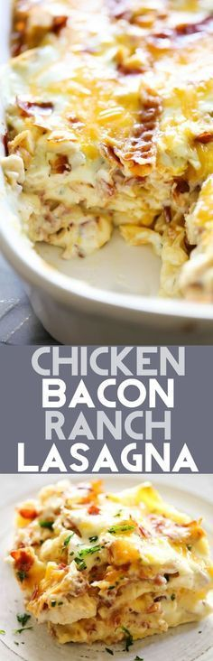 This Chicken Bacon Ranch Lasagna is such a unique and DELICIOUS spin on a… #chickenfoodrecipes