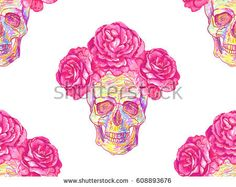 Seamless Mexican pattern with skulls and roses. Rose floral summer design vector background. Perfect for wallpapers, pattern fills, web page backgrounds, surface textures, textile