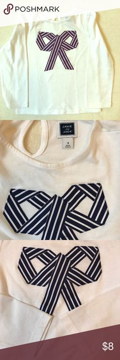 Janie and Jack Girls Ribbon Bow Long Sleeve Tee Janie and Jack Girls long sleeve tee with striped navy bow design. Perfect white condition. Like new, barely worn. Janie and Jack Shirts & Tops Tees - Long Sleeve