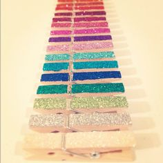 Getting crafty with the best friend! Glitter clothes pins for our photo collages(: