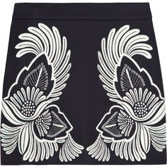 Stella McCartney Embroidered wool and cashmere-blend mini skirt ($435) ❤ liked on Polyvore featuring skirts, mini skirts, bottoms, faldas, midnight blue, wool mini skirt, mini skirt, navy wool skirt, short mini skirts and zipper skirt