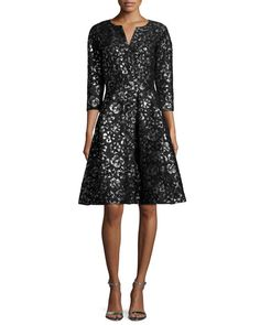 Oscar de la Renta 3/4-Sleeve Metallic-Print Cocktail Dress, Black