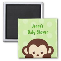Mod Monkey Polka Dots Baby Shower Favor Magnets
