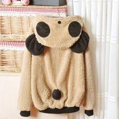 Light Khaki Lovely Panda Super Adorable Cardigan Sweater // can't be too hard to diy?